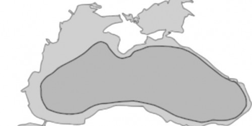Figure 1: The Black Sea Lake (dark grey) compared to the Black Sea today. Redrawn from Gilles (2017).
