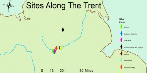 Figure  SEQ Figure \* ARABIC 1: Eight sites associated with the Great Army were identified in Derbyshire with seven of them following the course of the river Trent (Hume 2020, 38)