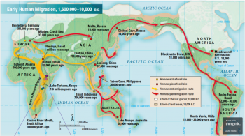 Figure 5:  Map showing the earliest migrations of Homo sapiens as well as their interactions with Homo erectus. It also shows the extent of ice sheets and dates of particular sites (Calum 2016).