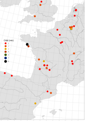 Figure 6: Density of the MNI of Child burials per site in France