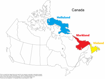 Fig. 1; Royalty free Map of Canada edited by the author to display possible locations of Helluland and Markland,  along with the location of Newfoundland in which the L'Anse Aux Meadows site is located.