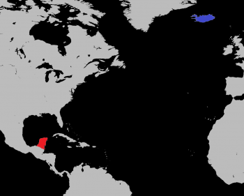 Fig. 3; Royalty free atlas edited by the author to highlight the locations of the Yucatan Peninsula (red), and Iceland (blue).