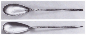 Figure 3: The Byzantine silver spoons of Sutton Hoo inscribed with the Greek of names Saul and Paul (Care Evans 1986, 62).