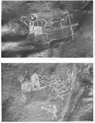 Figure 2: Rock paintings of chariots at Morhana Pahar (Allchin 1958, 1).