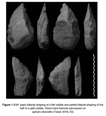 Figure 1 KS4: basic shaping of a flat cobble and partial bifacial shaping of the half of a split cobble. Direct hard hammer percussion on aphyric phonolite (Texier 2018, 43)