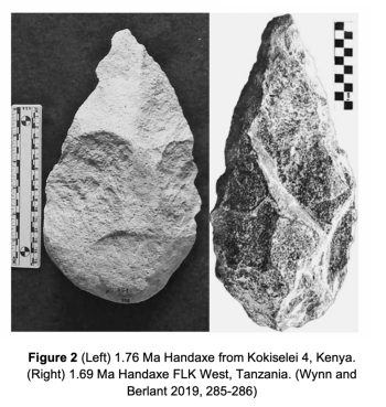 Figure 2 (Left) 1.76 Ma Handaxe from Kokiselei 4, Kenya. (Right) 1.69 Ma Handaxe FLK West, Tanzania. (Wynn and Berlant 2019, 285-286)