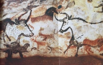 Figure 2: Hall of the Bulls, Lascaux (Aujoulat 2009, 66).