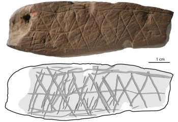 Figure 1: Linear symbols engraved into a block of Ochre at Blombos Cave (from Henshilwood et al. 2006, 35).
