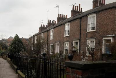 Figure 2 - This a panorama of Tower Place, a line of houses near the River Ouse. (Credit: Author)