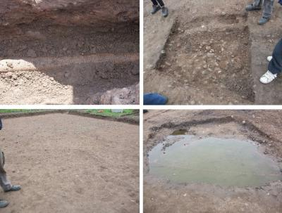 Figure 3 - Feature Roulette! Which will you get? Top Left: The Modern Pipe Trench. Top Right: The 'Interesting' Cobbled Area. Bottom Left: The Barren Zone. Bottom Right: The Water Feature. (Image Copyright - Mark Simpson (All))