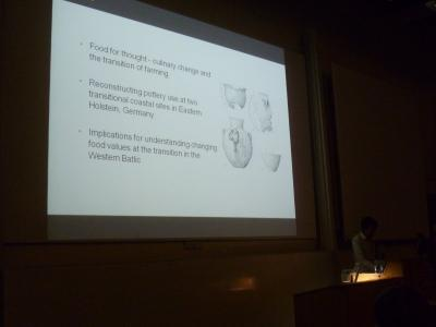 Figure 5 - Dr. Oliver Craig (York) presenting his paper on organic residue analysis of Ertebølle pottery during the Mesolithic-Neolithic transition (Image Copyright: D. Altoft; kind permission of O. Craig)