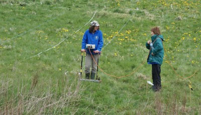 Figure 2: Two volunteers participating in resistivity (Reproduced with kind permission of Roger Weatherhill)
