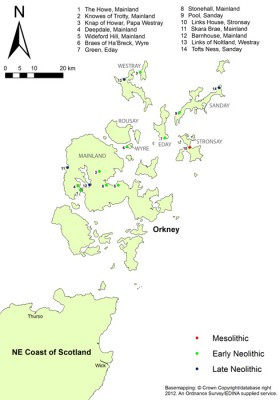 Figure 1: Domestic settlement in Orkney in the 4th and 3rd millennium BC (Reproduced with kind permission of Ordnance Survey)