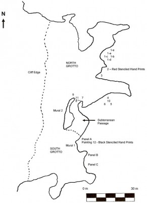 Figure 2: Map of Oxtotitlán Cave, showing grotto locations (Image Copyright: Arnaud F. Lambert)