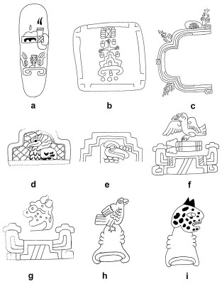 Figure 5: Tepetl (mountain) place-signs from Mesoamerica, see Notes for further information (Image Copyright: Arnaud F. Lambert)