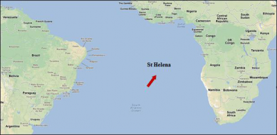 Figure 2: Location of Saint Helena within the South Atlantic Ocean (Adapted from Google Maps)