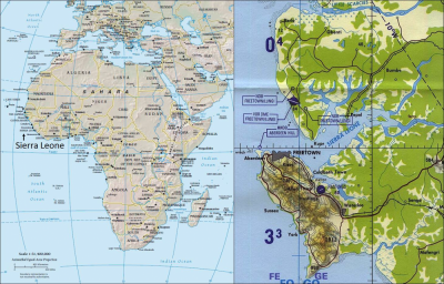Figures 1 and 2 (L-R): Sierra Leone on the West African coast; Bunce Island 20 miles up the Sierra Leone estuary (Reproduced and modified with kind permission of the University of Texas Libraries)