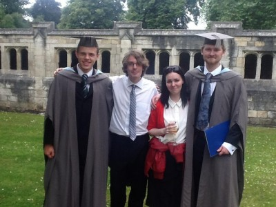 The departing members of the editorial team after their graduation in July (L-R): David Altoft (Editor-in-Chief), Taryk Rawlins-Welburn (Managing Editor), Alison Tuffnell (Submissions Editor) and Tristan Henser-Brownhill (Editor)