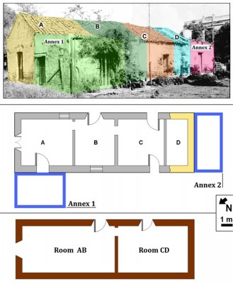 Figure 2. <b>Top</b>: Photomontage artificially colored to differentiate the rooms. Center: plan of the dwelling, where it can be distinguished: <em>in gray</em>, standing remains at the time of the intervention by mid-2011; in <em>beige</em>, foundations of room D; <em>in blue</em>, foundations of Annexes 1 and 2, probably constructed at some point in the 20th century. <b>Bottom</b>: in dark brown, recreation of the original structure of the house by early to mid-19th century (after Ávido 2012a).