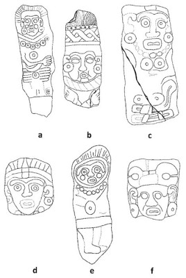 Figure 4. Selected Late Classic Period (600-900 AD). Sculptures from Los Santos Reyes Nopala, Oaxaca: (a) SRN-IGL-24 (redrawn after Bustamante 2003: 110); (b) SRN-PM-06 (redrawn after Bustamante 2003:76); (c) SRN-PP-11 (redrawn after Bustamante 2003:86); (d) SRN-CP-27 (redrawn after Bustamante 2003:116); (e) SRN-IGL-25 (redrawn after Bustamante 2003:112); and (f) SRN-PM-30 (redrawn after Bustamante 2003:122).  Drawings are not to scale (image copyright: Arnaud F. Lambert).