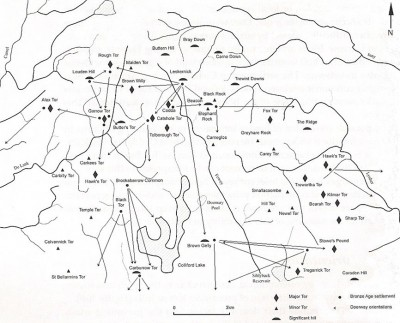 Figure 4. Map of Neolithic and Bronze Age house orientations on Bodmin Moor (adapted after Bender et al. 2007, fig 16:8).