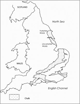 Figure 1. Distribution of chalk in England (after Stoertz 1997 ).