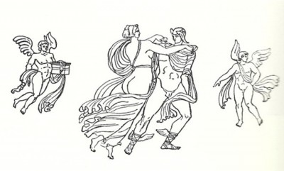 Figure 4. Drawing of Perseus and Andromeda, based on the painting found on the Pompeiian Nilometer (Wild 1981, Plate VI.1).