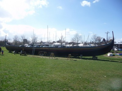 Figure 2. The 'Sea stallion' replica longship being repaired (Image Copyright: J. Grant).