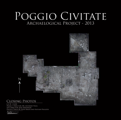 Figure 2. Aerial photograph taken by a quadcopter drone by Arch Aerial for the Poggio Civitate project (Tuck, Kreindler and Huntsman 2013).