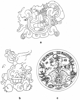Figure 7. Cave imagery in Maya art: (a) Taka'lik Ab'aj Altar 48 (redrawn after Schieber de Lavarreda and Orrego Corzo 2009:463, Fig. 1), (b), Izapa Stela 8 (redrawn after Norman 1973: Plate 16), and (c) a Late Classic period Maya polychrome plate, Kerr No. 1892 (redrawn after Quenon and Le Fort 1997, Fig. 12) (Image copyright: Arnaud F. Lambert).