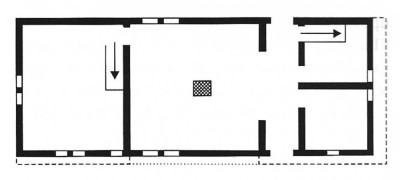 "Figure 1: Plan of Bayleaf illustrating the asymmetrical nature of early open hall houses, with the 'upper' solar to the left, open hall in the middle and 'lower' service area to the right. According to Johnson the open hall carried meaning at three levels. ""At the physical level, it directly moulded circulation patterns within the house around its centrality. At the level of formal symbolic code, it acted as an explicit structuring of space along socially hierarchical, patriarchal lines. At the level of spatial text, it signified several different things: it asserted comimmality and community, but also denoted inequality and segregation at the same time"" (Johnson 1993a, 59; 2010, 67; Harris 1993, 66)."