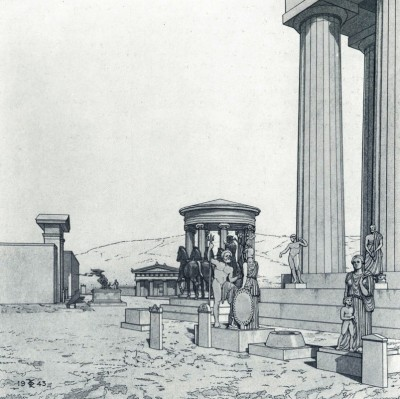 Figure 1. The NE corner of the Parthenon with the temple of Roma and Augustus, late 1st century BC. Restored by G. P. Stevens. Image courtesy of the American School of Classical Studies at Athens. (Stevens 1946, Fig. 1).