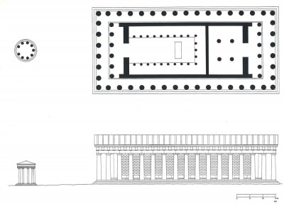 Figure 5. Plan and North elevation of the temple of Roma and Augustus and the Parthenon. Drawing by M. C. Hoff. Reproduced with permission from the Journal of Roman Archaeology (Hoff 1996, 187).