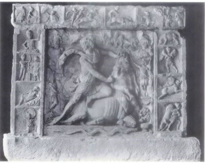 Figure 21. (Top Right) Neuenheim, Mithras shooting arrow at the rock, second top panel from the left. Vermaseren, M.J. 1956, CIMRM 1283.