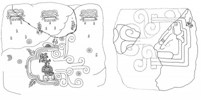 Figure 7. A comparison of Monument 1 and a proposed reconstruction of Monument 13 incorporating the sculpture fragment. Drawings are not to scale. (Image Copyright: Arnaud F. Lambert)