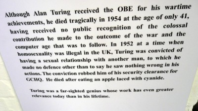 Figure 4:  Bletchley Park's information board on the subject of Alan Turing's death by suicide. It does not mention his sentence of chemical castration and the interpretation offers no further discussion of these events, or the issues surrounding them. (Image:  Doctorow, 2008).