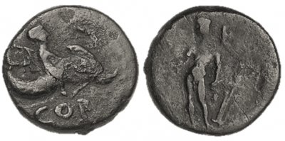 Figure 3: Isthmus and Melicertes (RPC I, 1168). Bronze as, from Corinth, c. 27 BCE. Obverse: Melicertes sitting on a dolphin, holding a thryos over his shoulder, with the legend COR. Reverse: standing Isthmus, holding rudder in each hand. Reproduced with permission of Ino Ioannidou and Lenio Bartzioti, American School of Classical Studies at Athens, Corinth Excavations (www.ascsa.net).