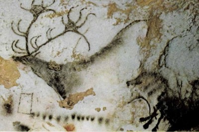 Figure 7: Red deer stag and abstract signs from Lascaux (Leroi-Gourhan 1968a).