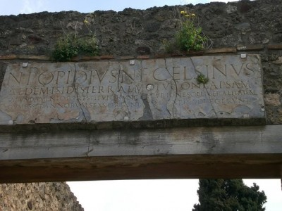 Dedicatory inscription of the Temple of Isis, Pompeii.