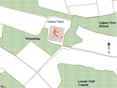 Figure 2: Distribution of Roman pottery in the Glebe field, illustrating the area field-walked in the context of the research area.